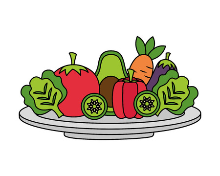 vegetables fresh healthy food on dish vector illustration Çizim