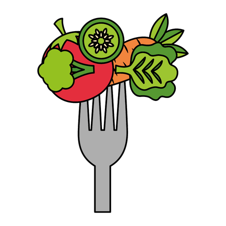 vegetables fresh healthy food on fork vector illustration Ilustração
