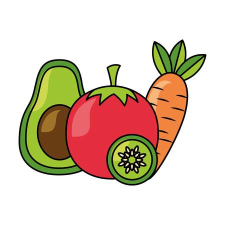 Avocado-Tomaten-Karotten- und Gurken-gesunde Lebensmittelvektorillustration Vektorgrafik