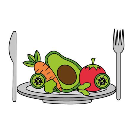 salad dish fork knife healthy food vector illustration Archivio Fotografico - 112878745