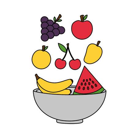 falling fruits in bowl fresh healthy food vector illustration