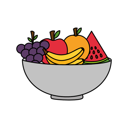 bowl with fruits healthy food vector illustration Stok Fotoğraf - 127260799