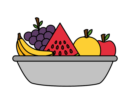 bowl with fruits healthy food vector illustration