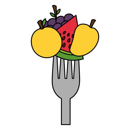 fruits fresh healthy food on fork vector illustration Standard-Bild - 127260801