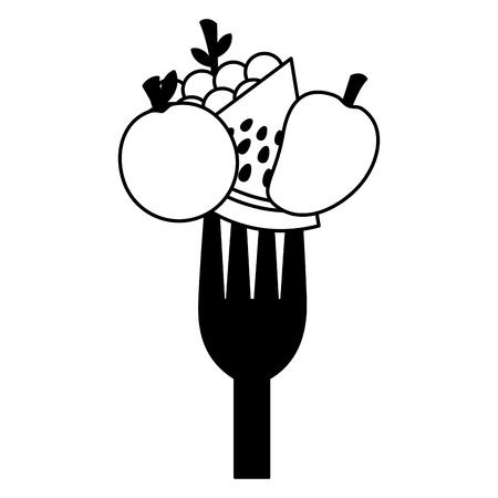 fruits fresh healthy food on fork vector illustration Standard-Bild - 127260805