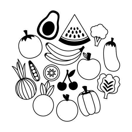 healthy food fruits and vegetables on white background vector illustration
