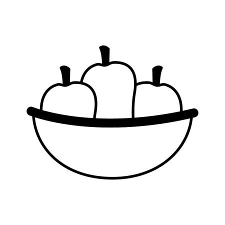 bowl with mangos fresh healthy food vector illustration