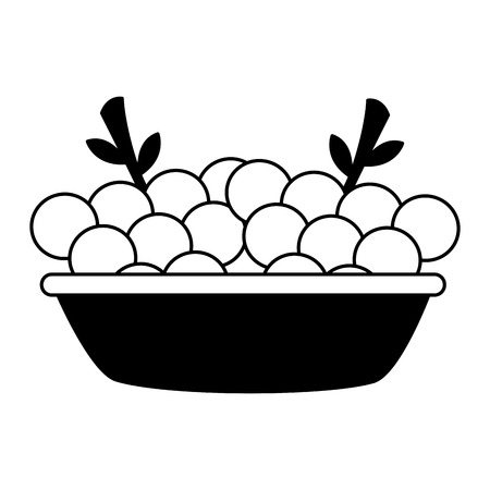 bowl with grapes fresh healthy food vector illustration 일러스트
