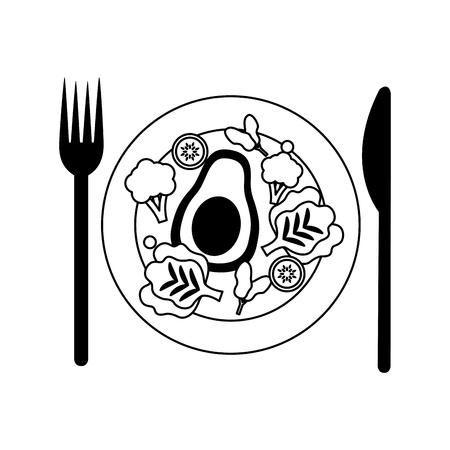 salad dish fork knife healthy food vector illustration Standard-Bild - 112882732