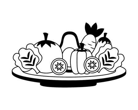 vegetables fresh healthy food on dish vector illustration Иллюстрация