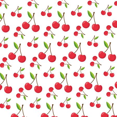 cherry healthy food fresh background vector illustration Illustration