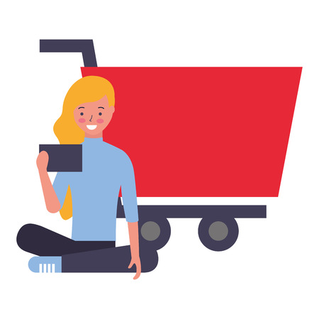 woman using mobile online shopping cart vector illustration
