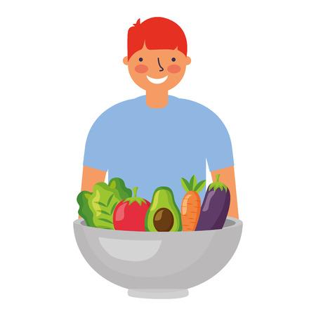 man with healthy food vegetables vector illustration Standard-Bild - 127260832