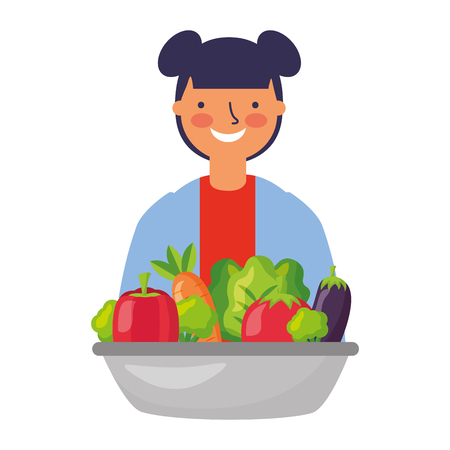 young woman with healthy food vegetables vector illustration