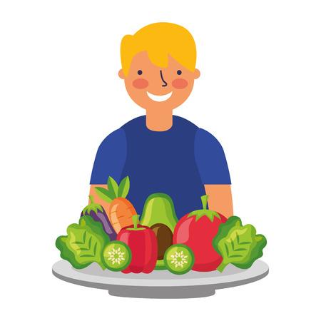 man with healthy food vegetables vector illustration Standard-Bild - 127260834