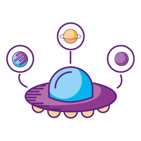 ufo spaceship planets astrology cartoon vector illustration