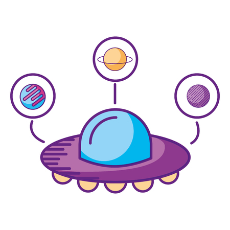 ufo spaceship planets astrology cartoon vector illustration