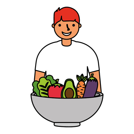 man with healthy food vegetables vector illustration Standard-Bild - 127260849