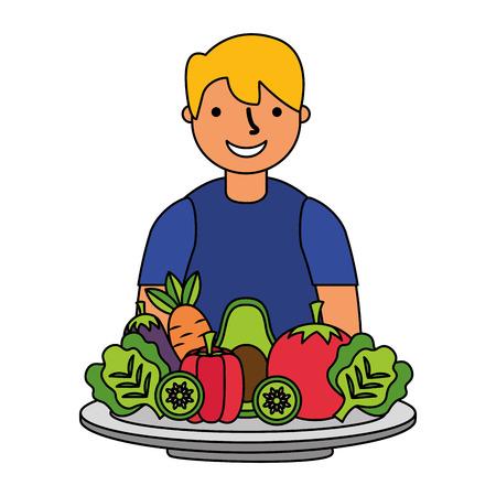 man with healthy food vegetables vector illustration Archivio Fotografico - 127260850