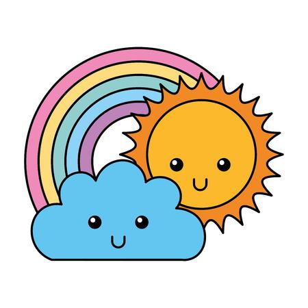 kawaii, nube, sol, y, arco iris, caricatura, vector, ilustración