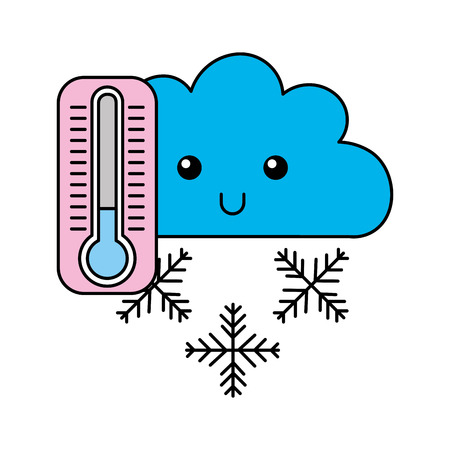 kawaii cloud winter thermometer cartoon vector illustration Ilustração