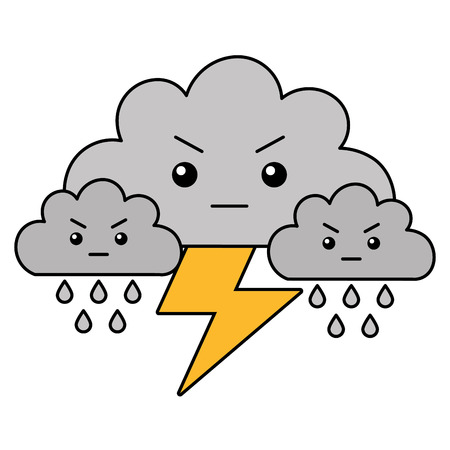 kawaii clouds thunderbolt rain cartoon vector illustration