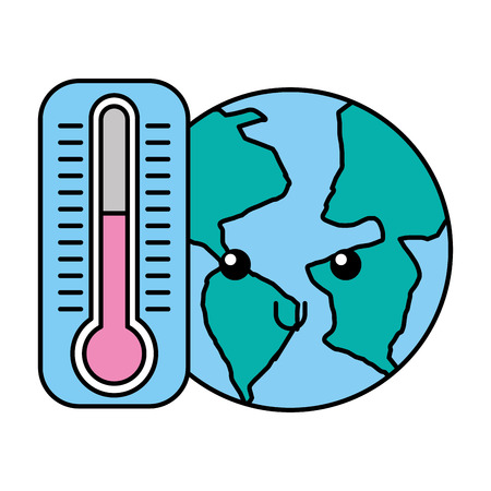 kawaii world and thermometer cartoon vector illustration