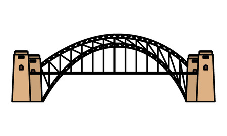 australia landmark architecture harbour bridge vector illustration Çizim
