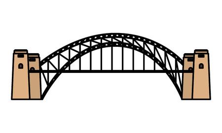 Ilustración de vector de puente de puerto de arquitectura histórica de Australia