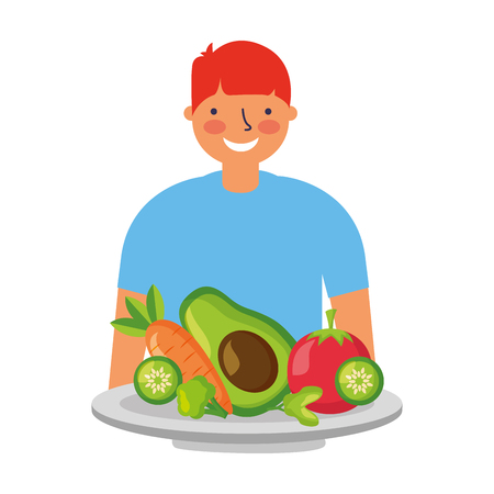 man with healthy food vegetables vector illustration Standard-Bild - 127260862