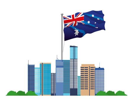 australia landmark architecture and flag vector illustration Stock Illustratie