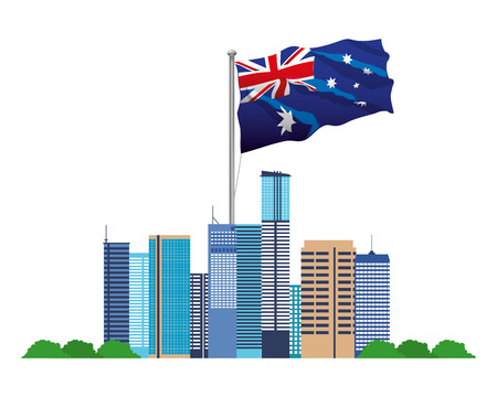 australia landmark architecture and flag vector illustration Illustration