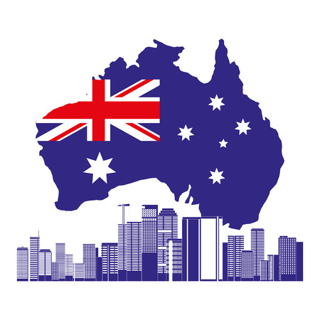 australia landmark architecture flag and map vector illustration