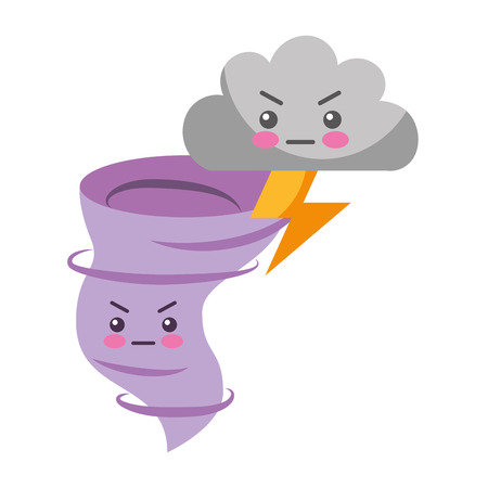 kawaii twister angry cloud and thunderbolt cartoon vector illustration Standard-Bild - 127260869