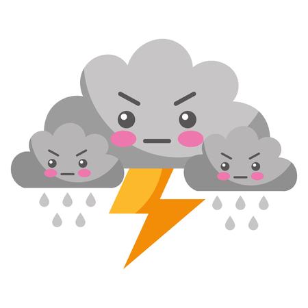 Kawaii nuages foudre pluie cartoon vector illustration Vecteurs