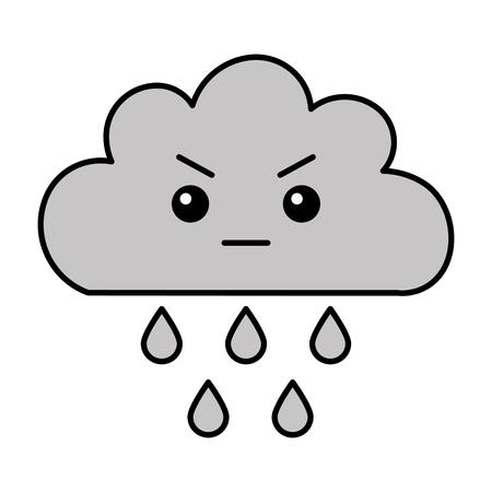kawaii angry cloud rain cartoon vector illustration