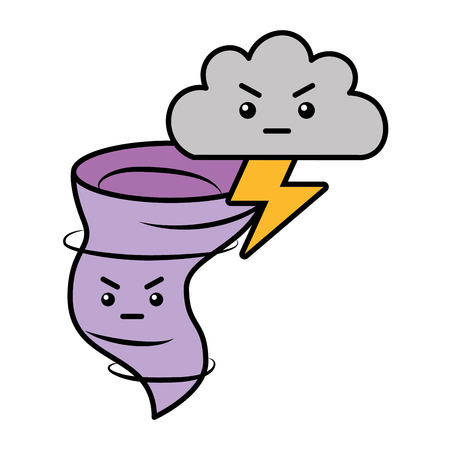 kawaii twister angry cloud and thunderbolt cartoon vector illustration