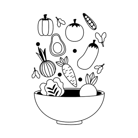 falling vegetables in bowl fresh healthy food vector illustration