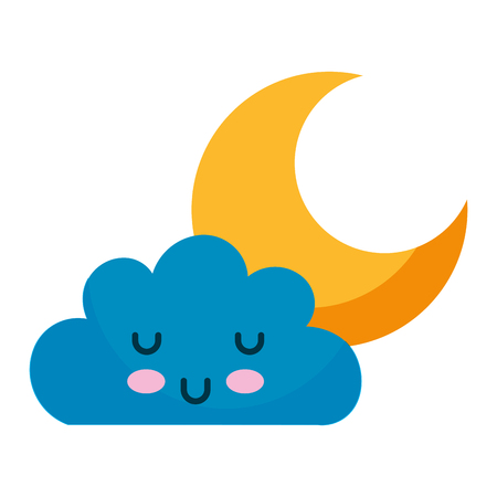 kawaii cloud and moon cartoon vector illustration Illustration