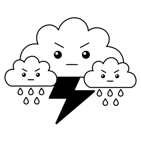 kawaii clouds thunderbolt rain cartoon vector illustration