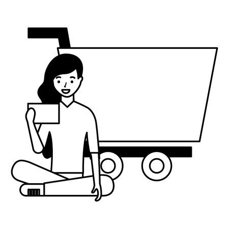 woman using mobile online shopping cart vector illustration Stock Vector - 127260915