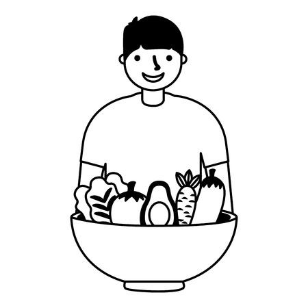 man with healthy food vegetables vector illustration Standard-Bild - 127260916