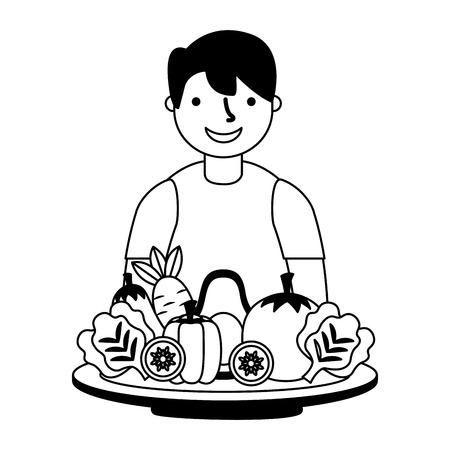 man with healthy food vegetables vector illustration Standard-Bild - 127260917