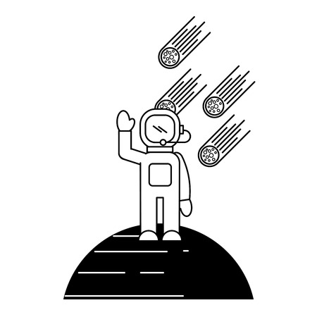 astronaut asteroids and planet galaxy vector illustration