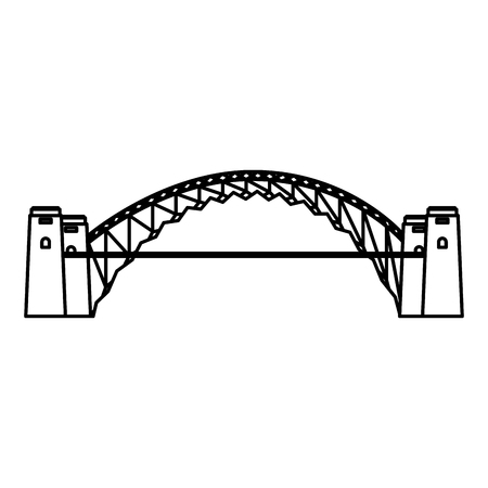 australia landmark architecture harbour bridge vector illustration Illustration