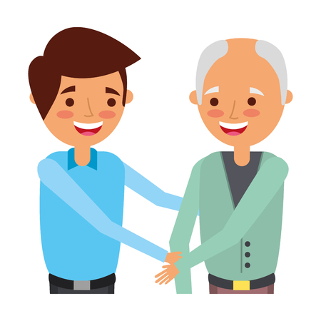 grandfather and grandson embraced family vector illustration
