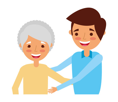 grandmother and grandson embraced family vector illustration 向量圖像