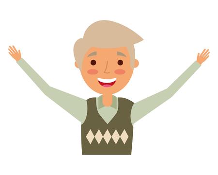 happy elderly man grandfather character vector illustration