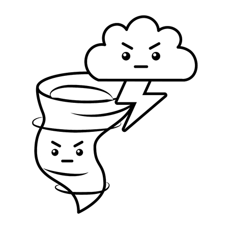 kawaii twister angry cloud and thunderbolt cartoon vector illustration Illustration