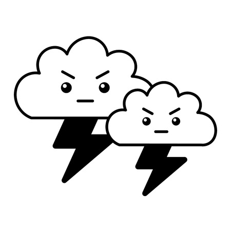 kawaii clouds angry cartoon and thunderbolt vector illustration